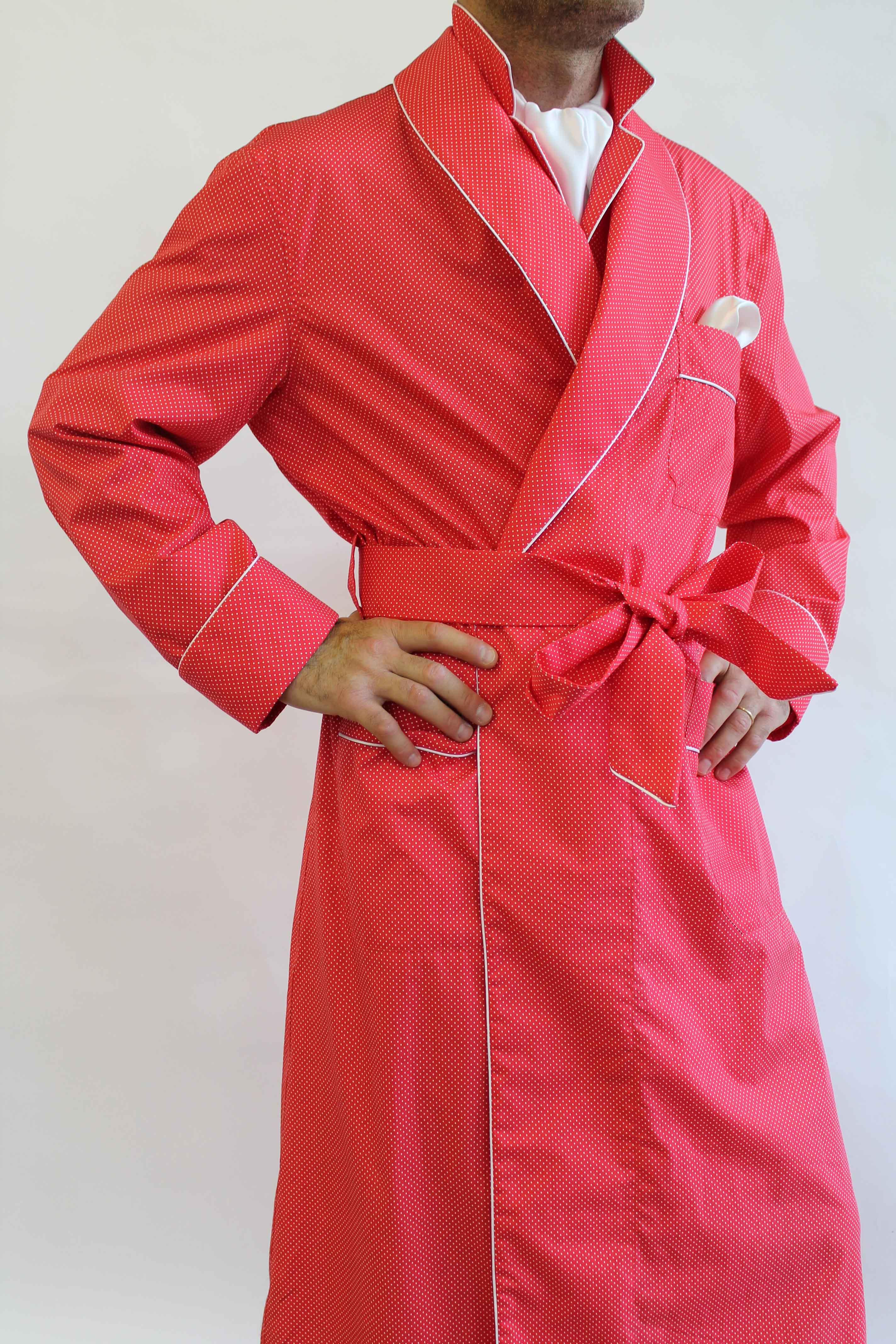 Robe de chambre classique pour homme en 100 coton imprime 39 avec passepoil - Robe de chambre homme coton ...